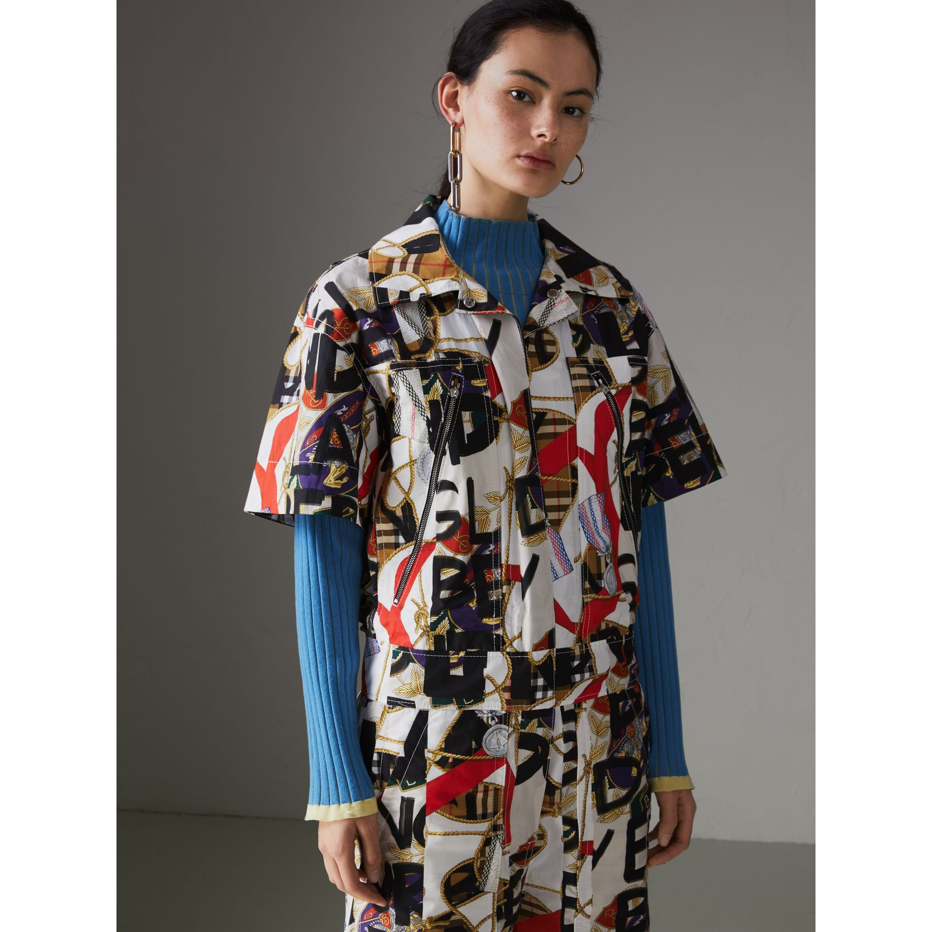 Graffiti Archive Scarf Print Cotton Jumpsuit in Stone - Women | Burberry - gallery image 4