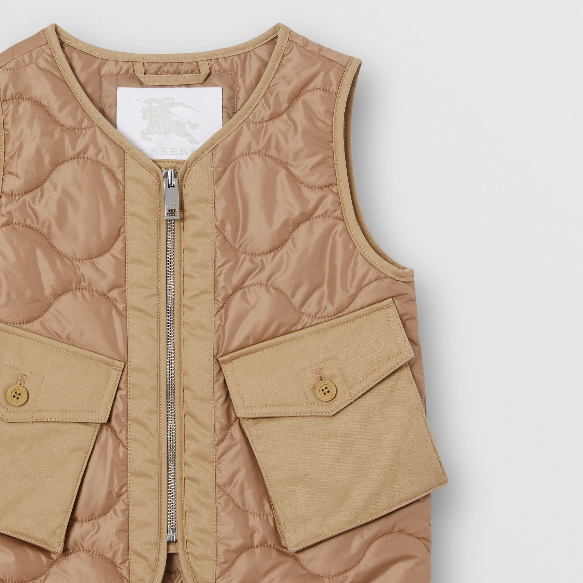 Embroidered Logo Showerproof Quilted Gilet in Honey | Burberry - gallery image 5