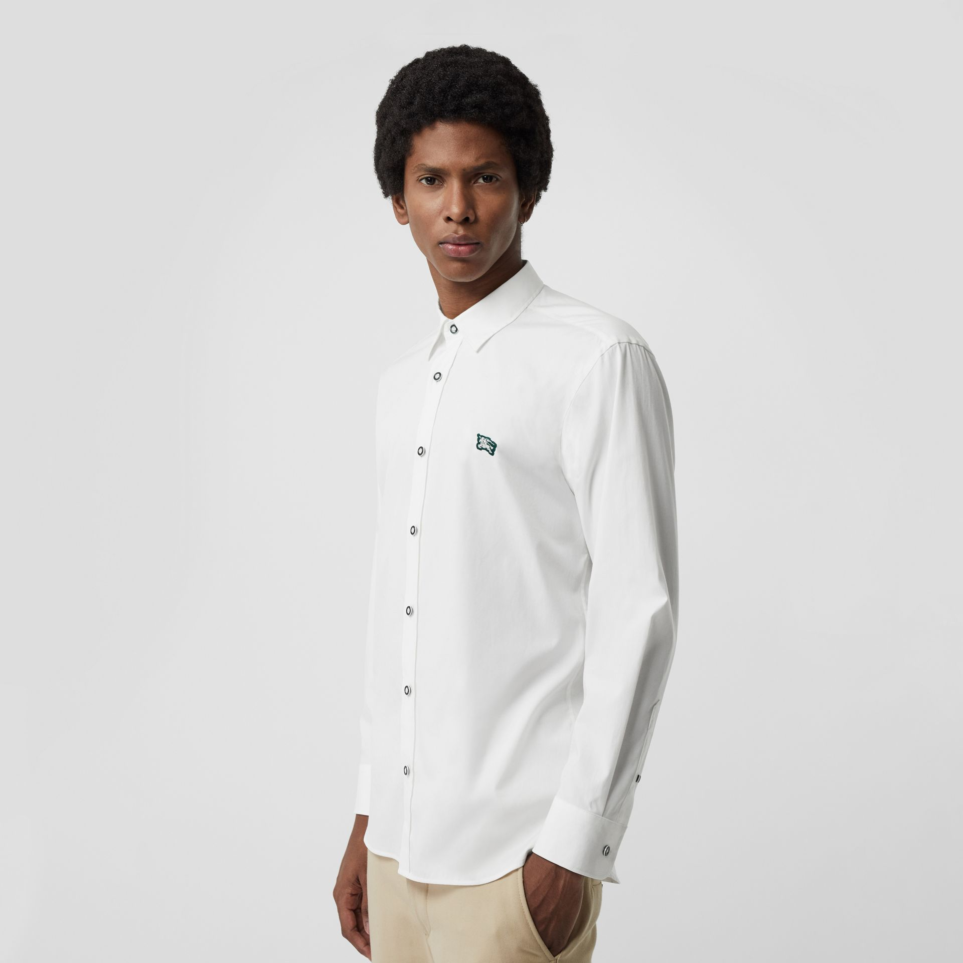 Contrast Button Stretch Cotton Shirt in White - Men | Burberry - gallery image 0