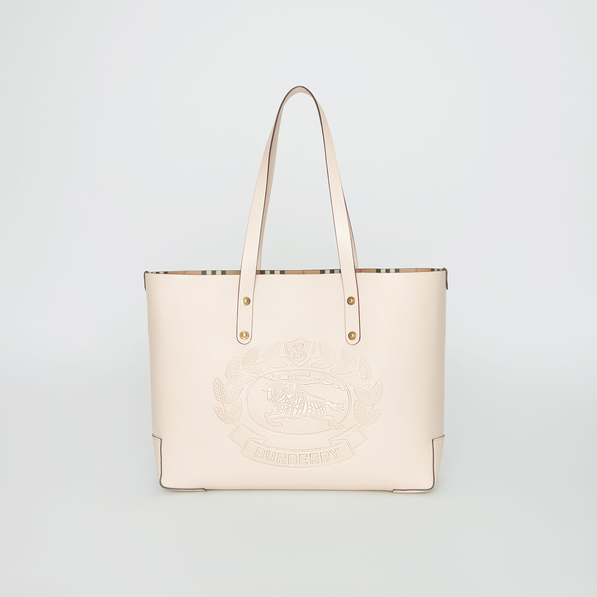 Small Embossed Crest Leather Tote in Limestone | Burberry - gallery image 0