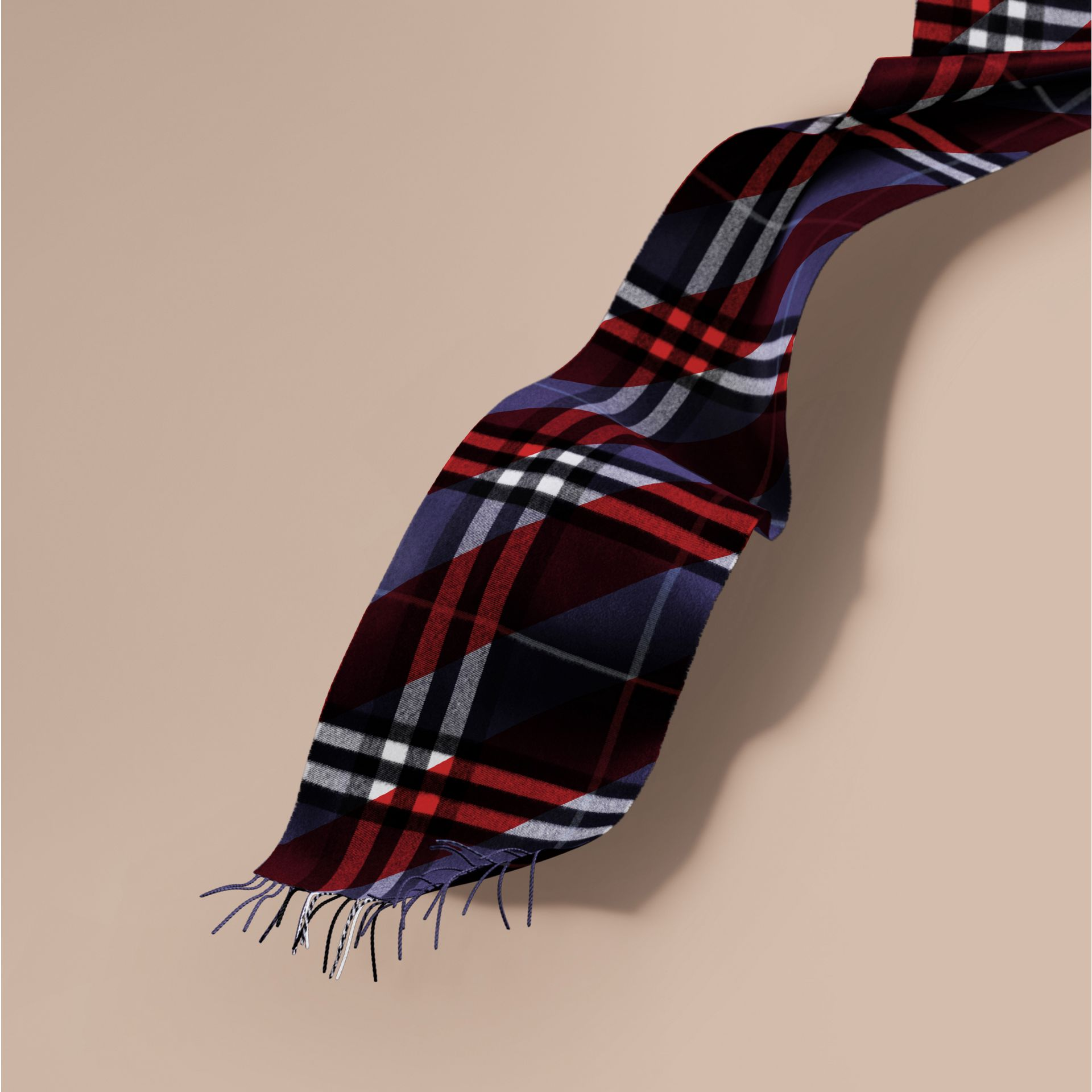 The Classic Cashmere Scarf in Check with Stripe Print - gallery image 1
