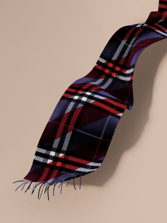 The Classic Cashmere Scarf in Check with Stripe Print