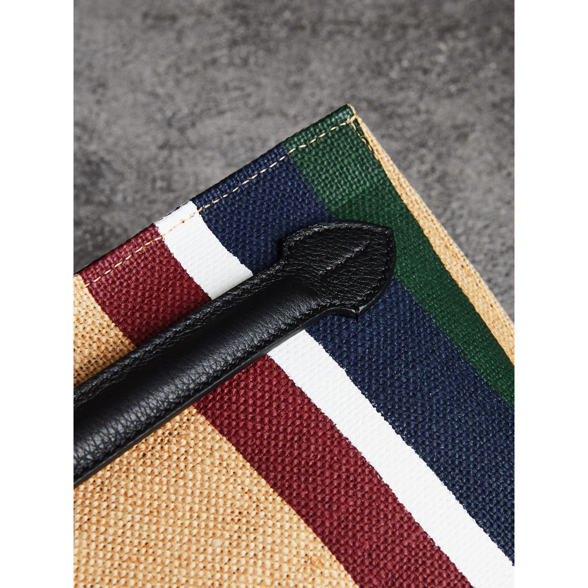 Striped Jute Wristlet Clutch in Black - Women | Burberry - gallery image 1