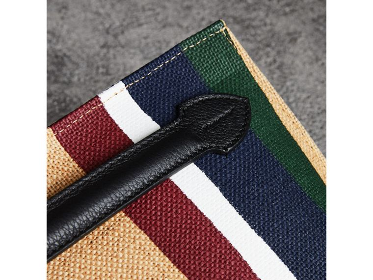 Striped Jute Wristlet Clutch in Black - Women | Burberry Singapore - cell image 1