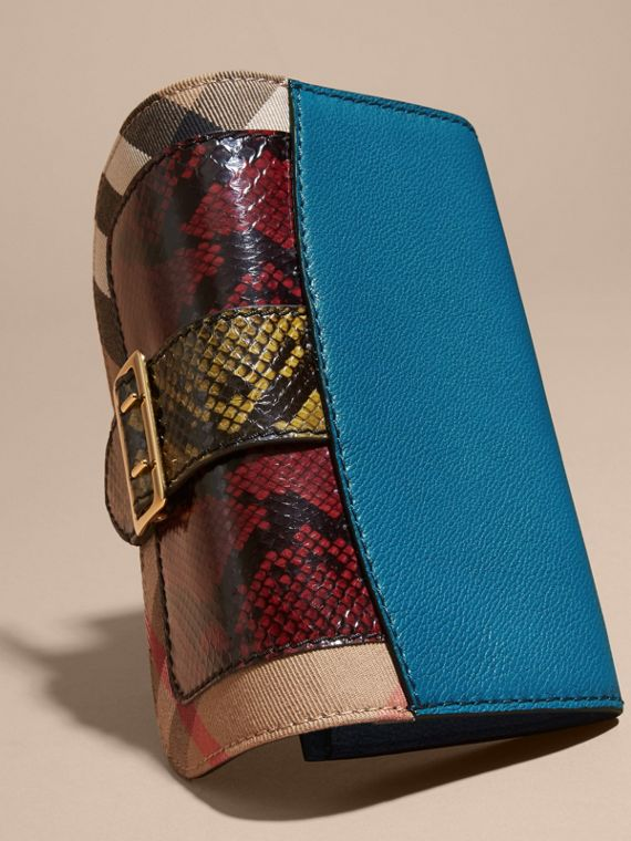 Snakeskin and House Check Continental Wallet in Peacock Blue - cell image 3