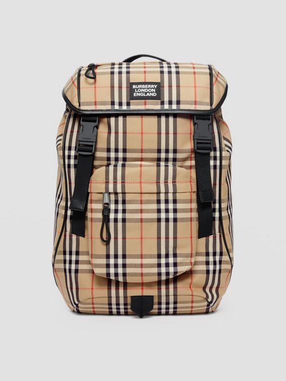 Logo Detail Vintage Check Backpack in Archive Beige