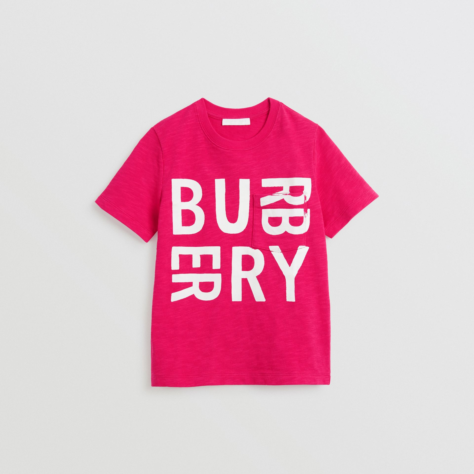 Logo Print Cotton T-shirt in Raspberry Pink | Burberry - gallery image 0