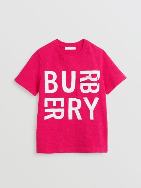Logo Print Cotton T-shirt in Raspberry Pink