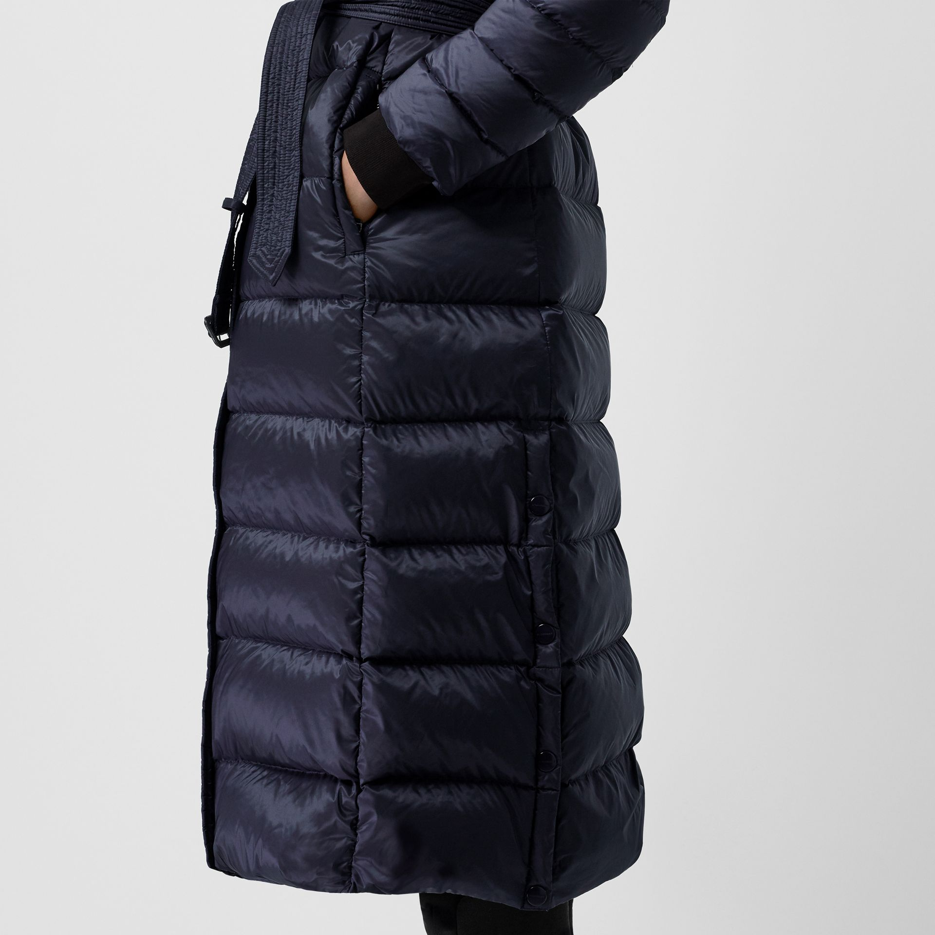 Down-filled Hooded Puffer Coat in Navy - Women | Burberry - gallery image 4