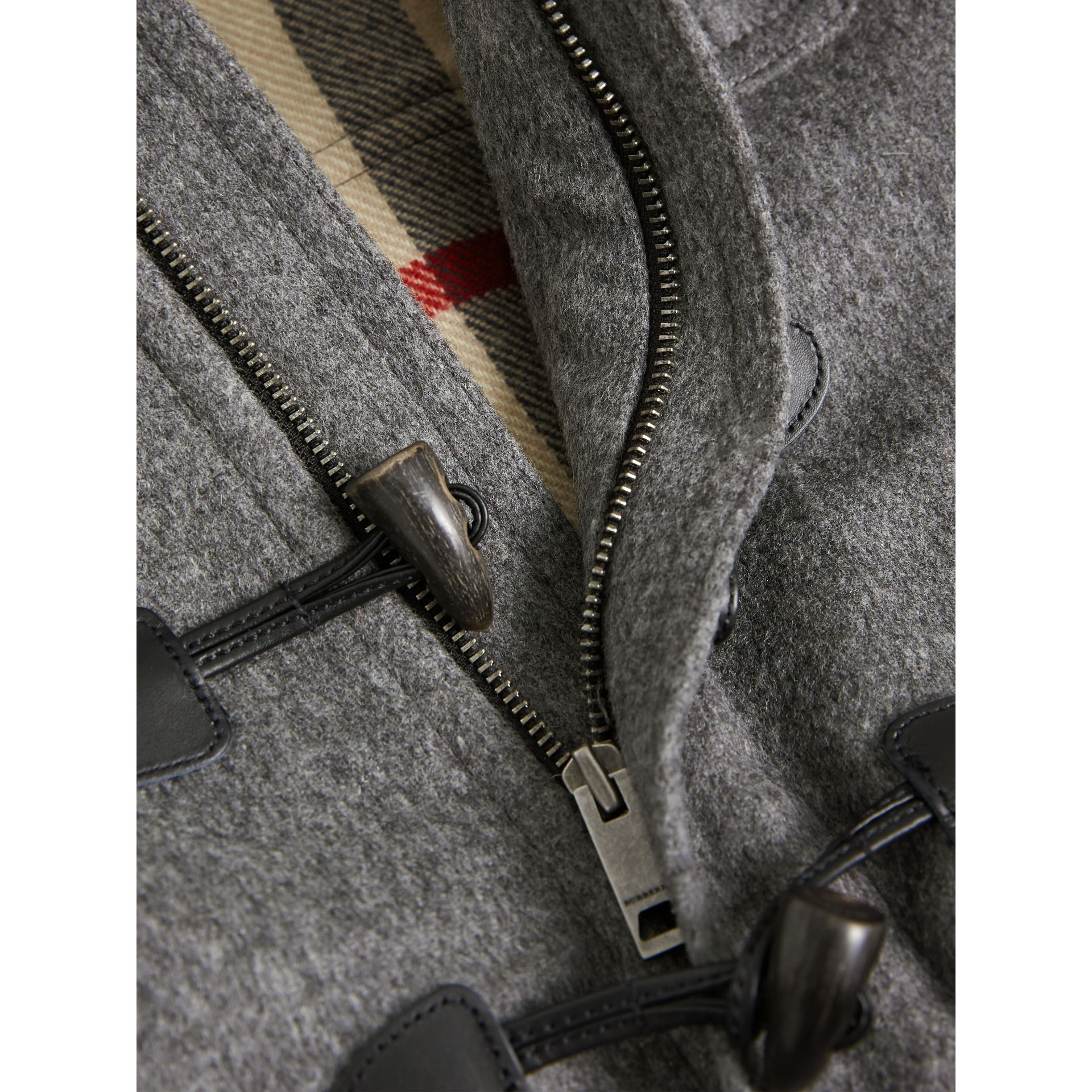 Hooded Wool Duffle Coat in Mid Grey Melange - Boy | Burberry - gallery image 1