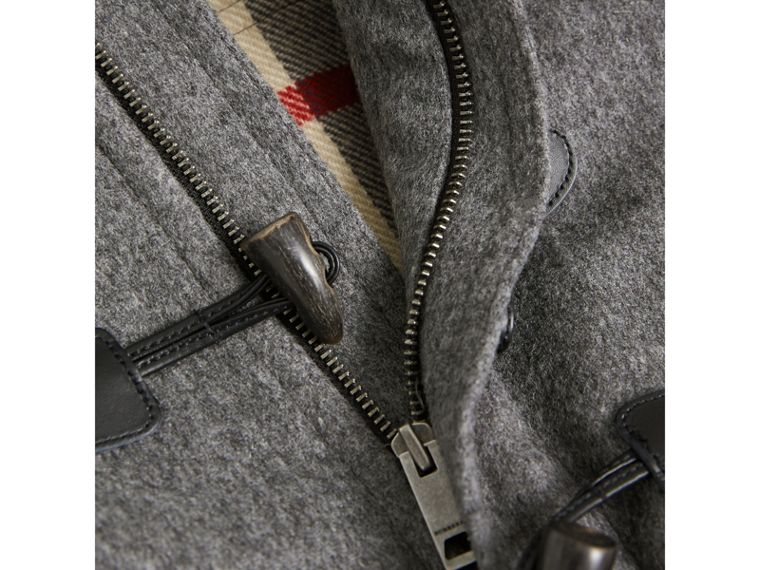 Hooded Wool Duffle Coat in Mid Grey Melange - Boy | Burberry - cell image 1