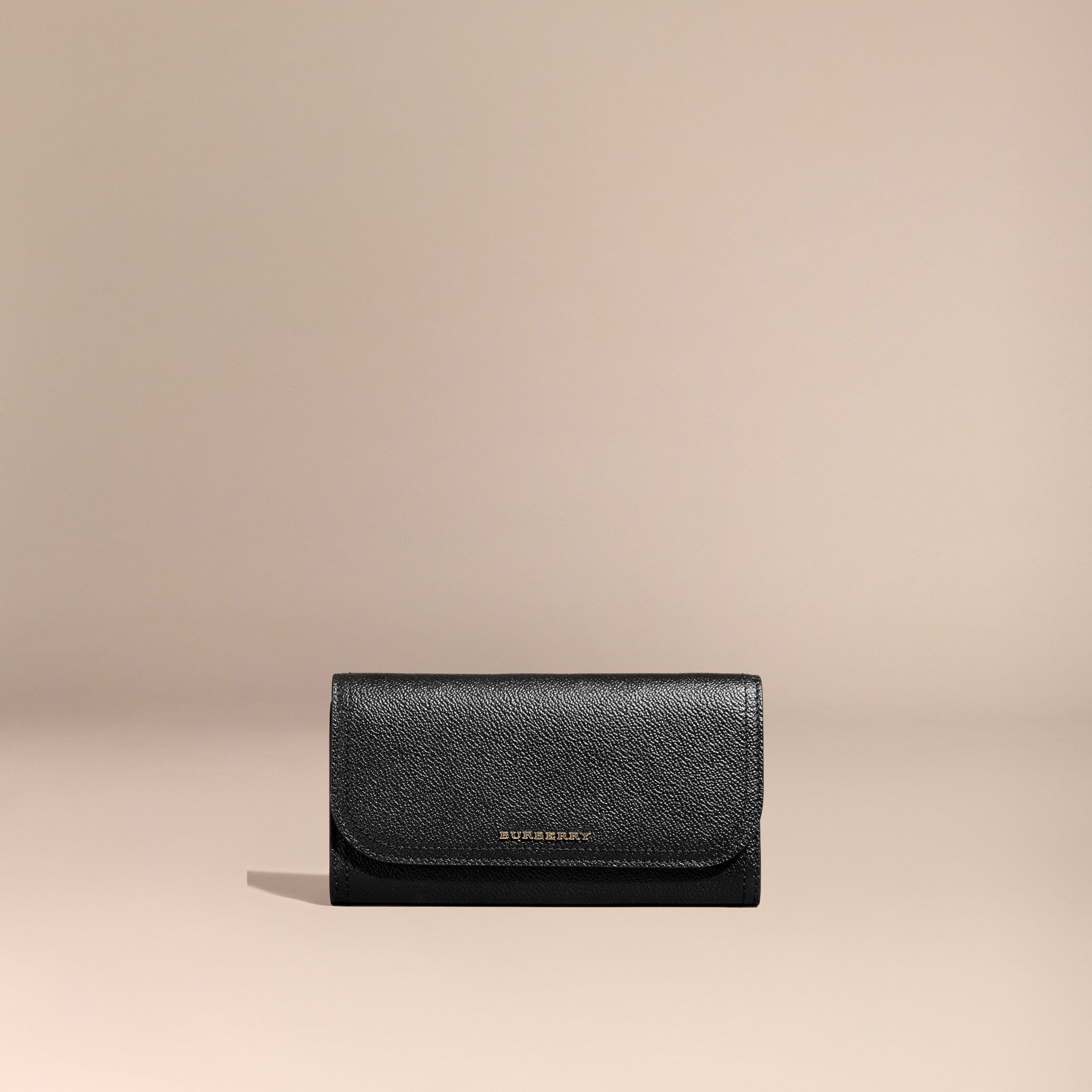 Grainy Leather Slim Continental Wallet in Black - Women | Burberry - gallery image 7