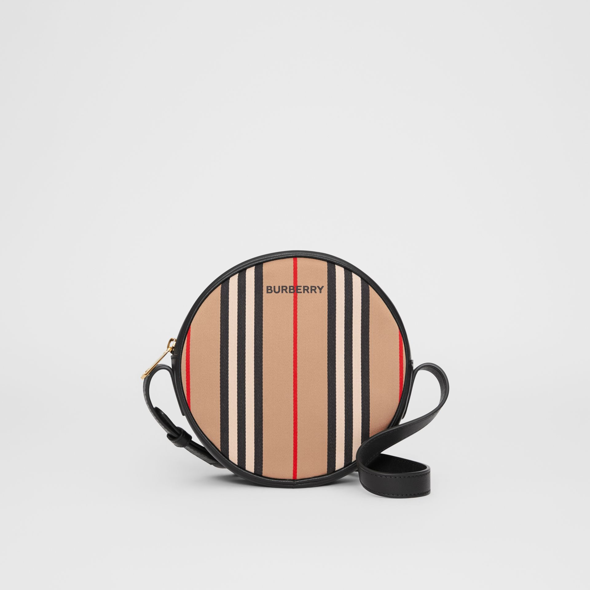 Icon Stripe Cotton Crossbody Bag in Honey/black - Children | Burberry - gallery image 0