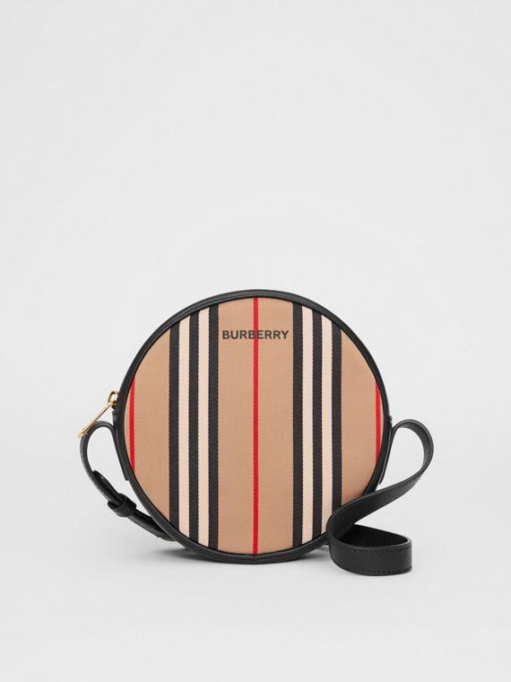 Icon Stripe Cotton Crossbody Bag in Honey/black