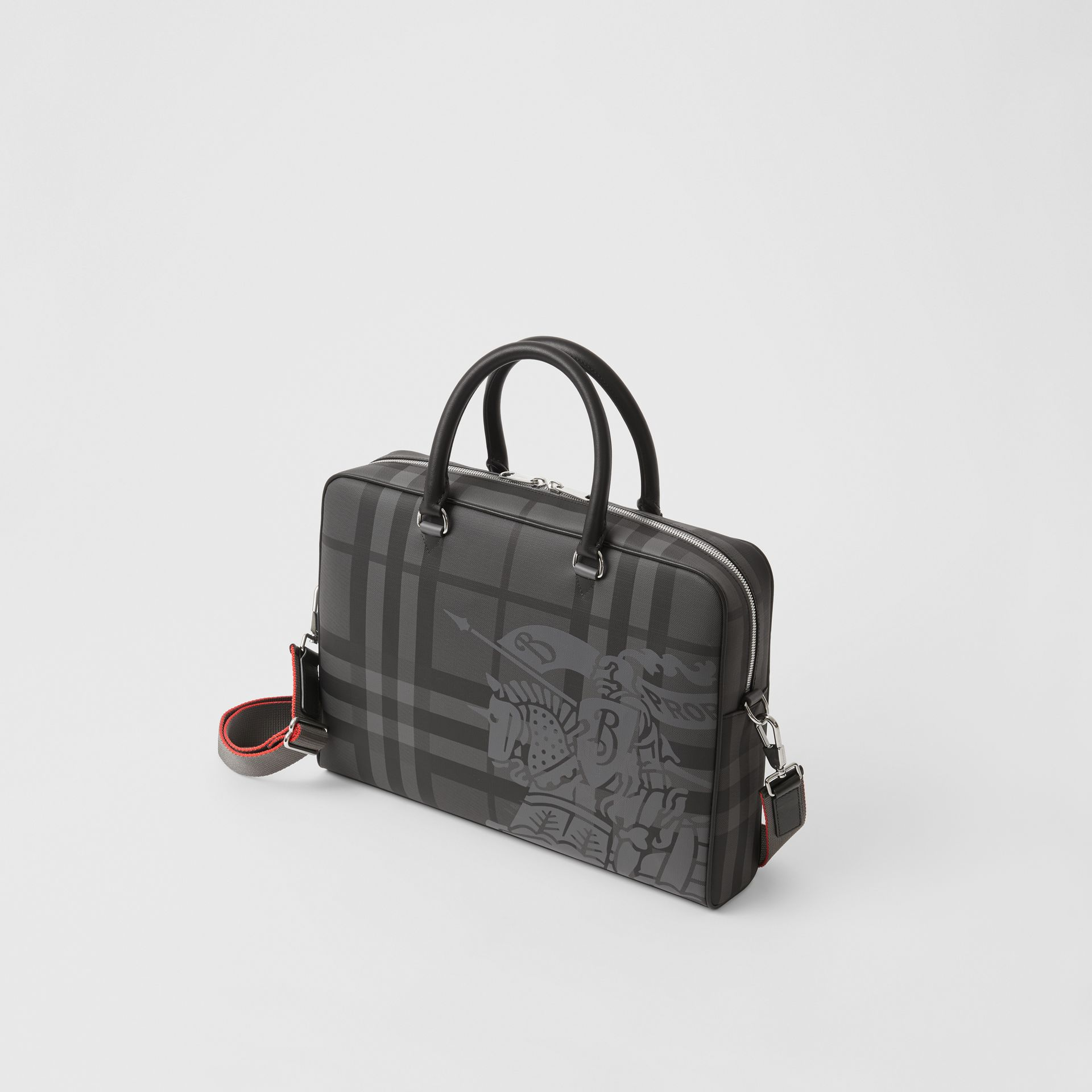 EKD London Check and Leather Briefcase in Charcoal/black - Men | Burberry Australia - gallery image 4