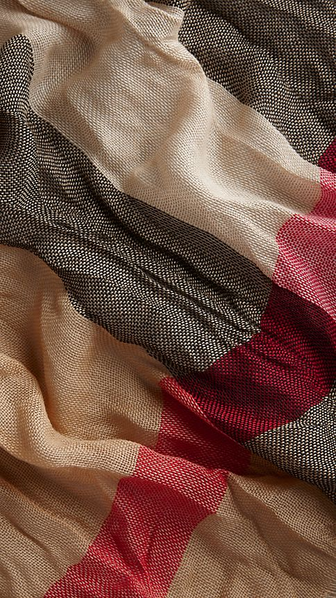 Camel check Check Cashmere Crinkled Scarf - Image 3