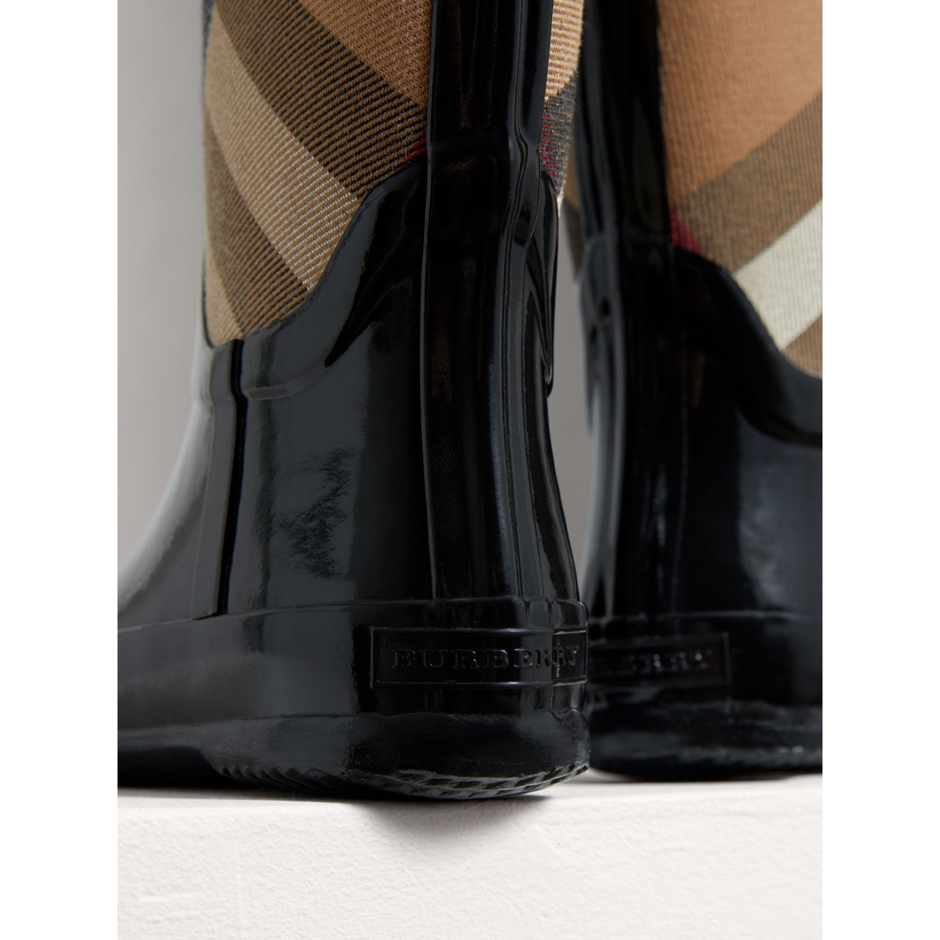 House Check Panel Rain Boots in Black | Burberry Singapore - gallery image 1