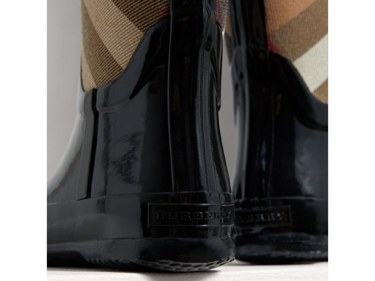 House Check Panel Rain Boots in Black | Burberry Singapore - cell image 1