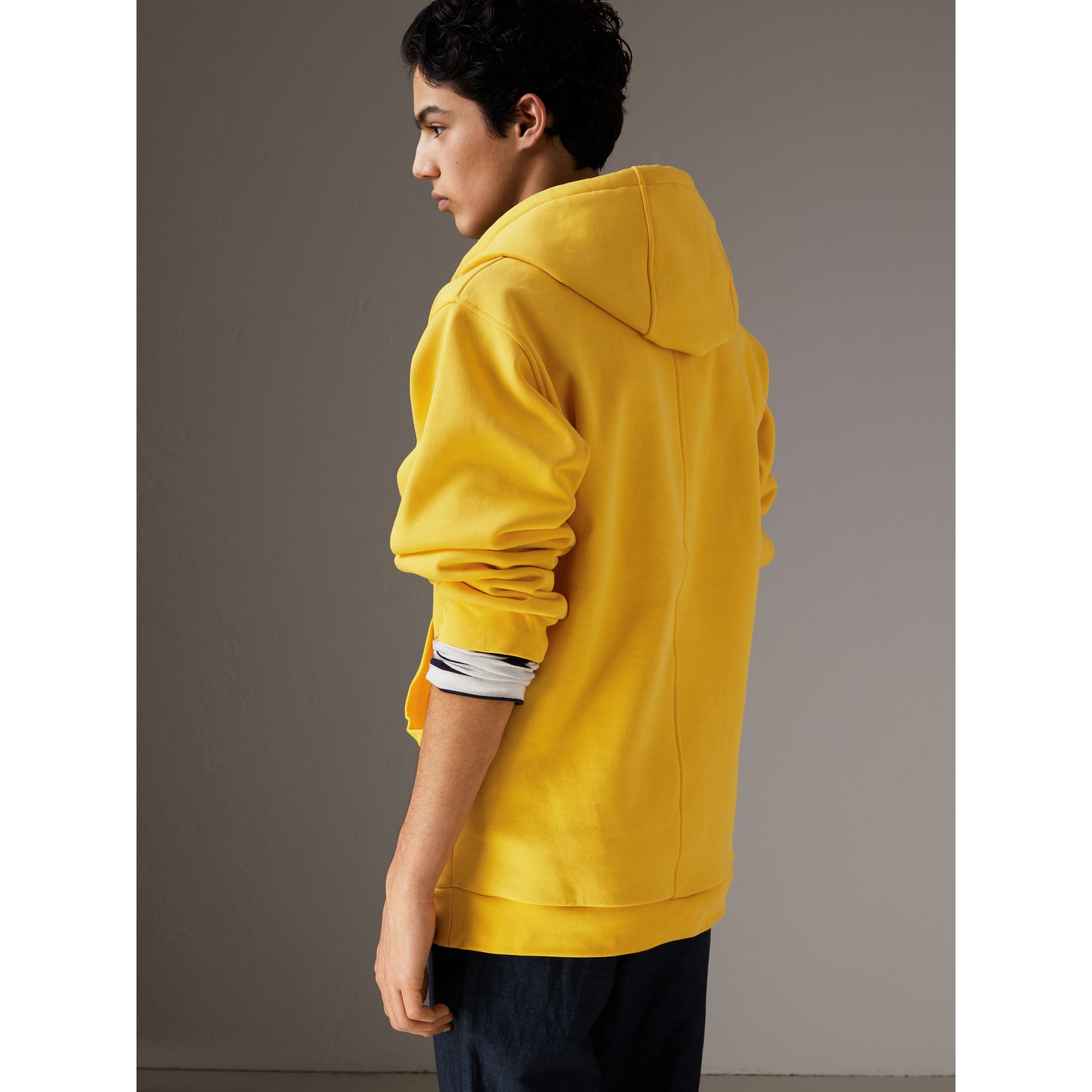 Oversized Sweatshirt Half-zip Hoodie in Bright Yellow - Men | Burberry United Kingdom - gallery image 2