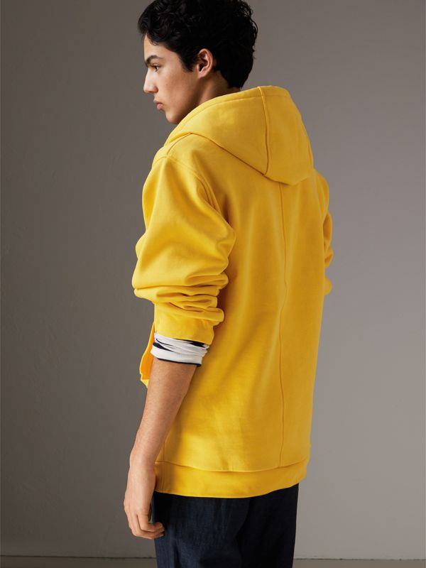 Oversized Sweatshirt Half-zip Hoodie in Bright Yellow - Men | Burberry - cell image 2