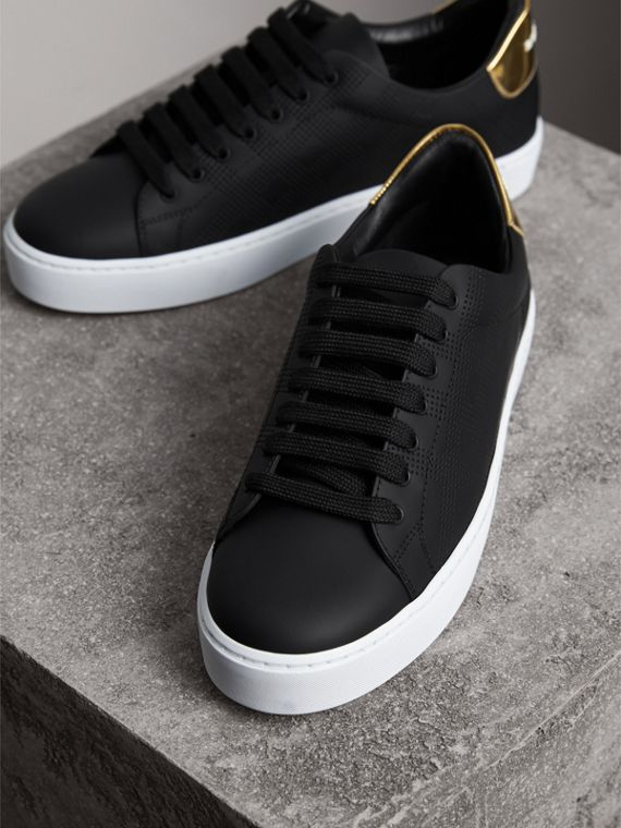 Perforated Check Leather Trainers in Black - Women | Burberry - cell image 3