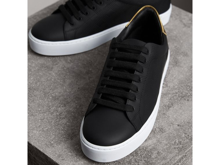 Perforated Check Leather Sneakers in Black - Women | Burberry Australia - cell image 4