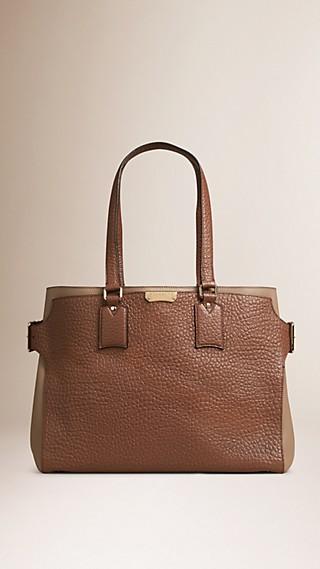 Grand sac tote en cuir grainé emblématique