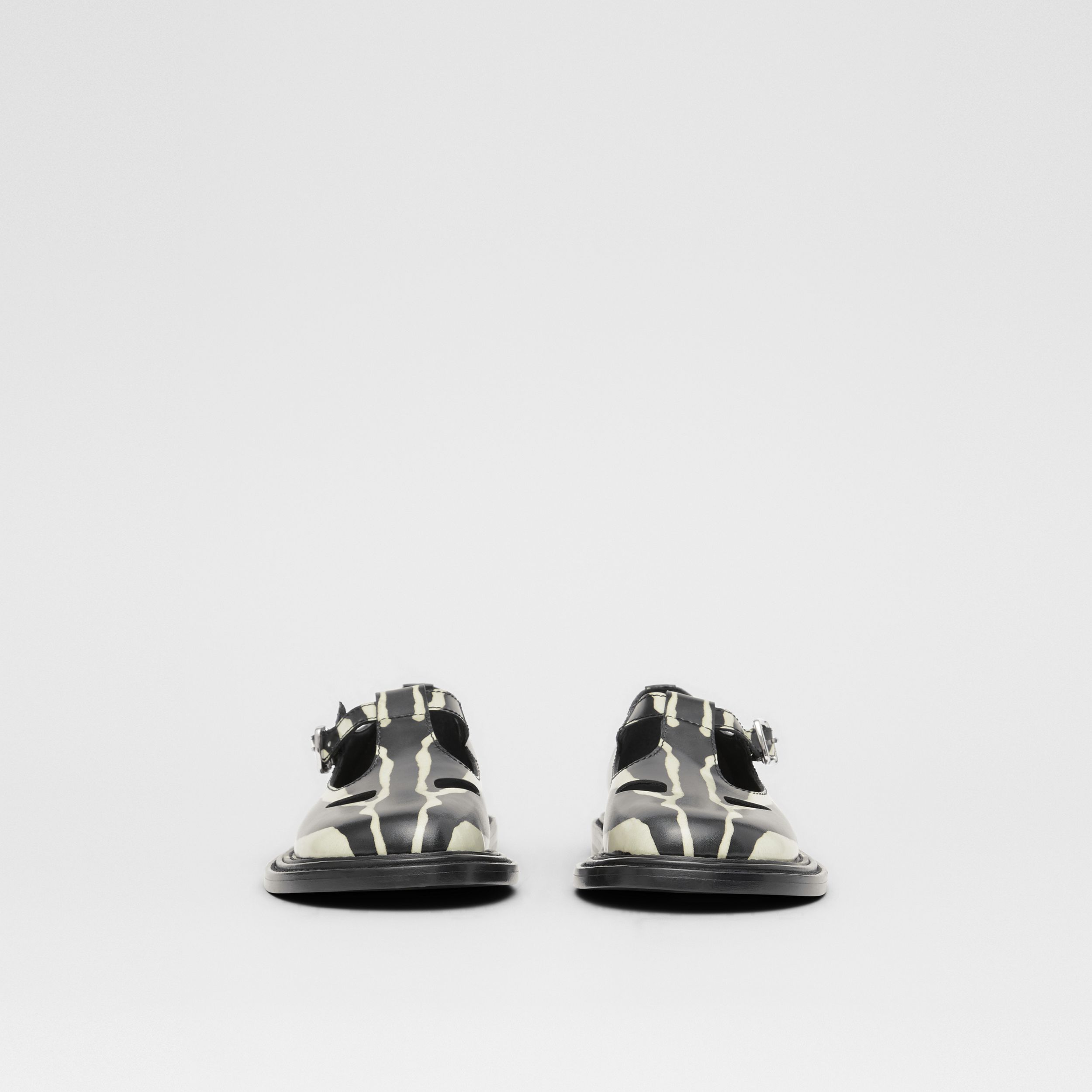 Zebra Print Leather T-bar Shoes in Black/white - Women | Burberry - 3
