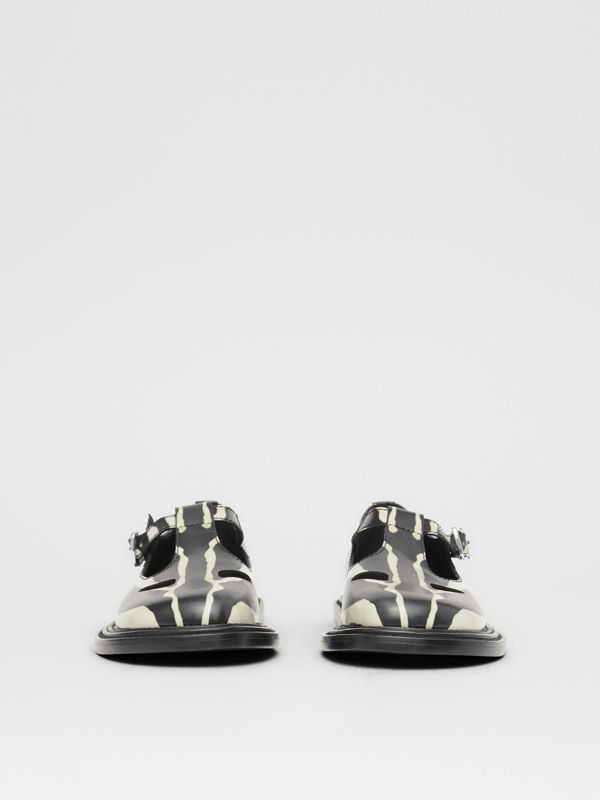 Zebra Print Leather T-bar Shoes in Black/white - Women | Burberry United Kingdom - cell image 2