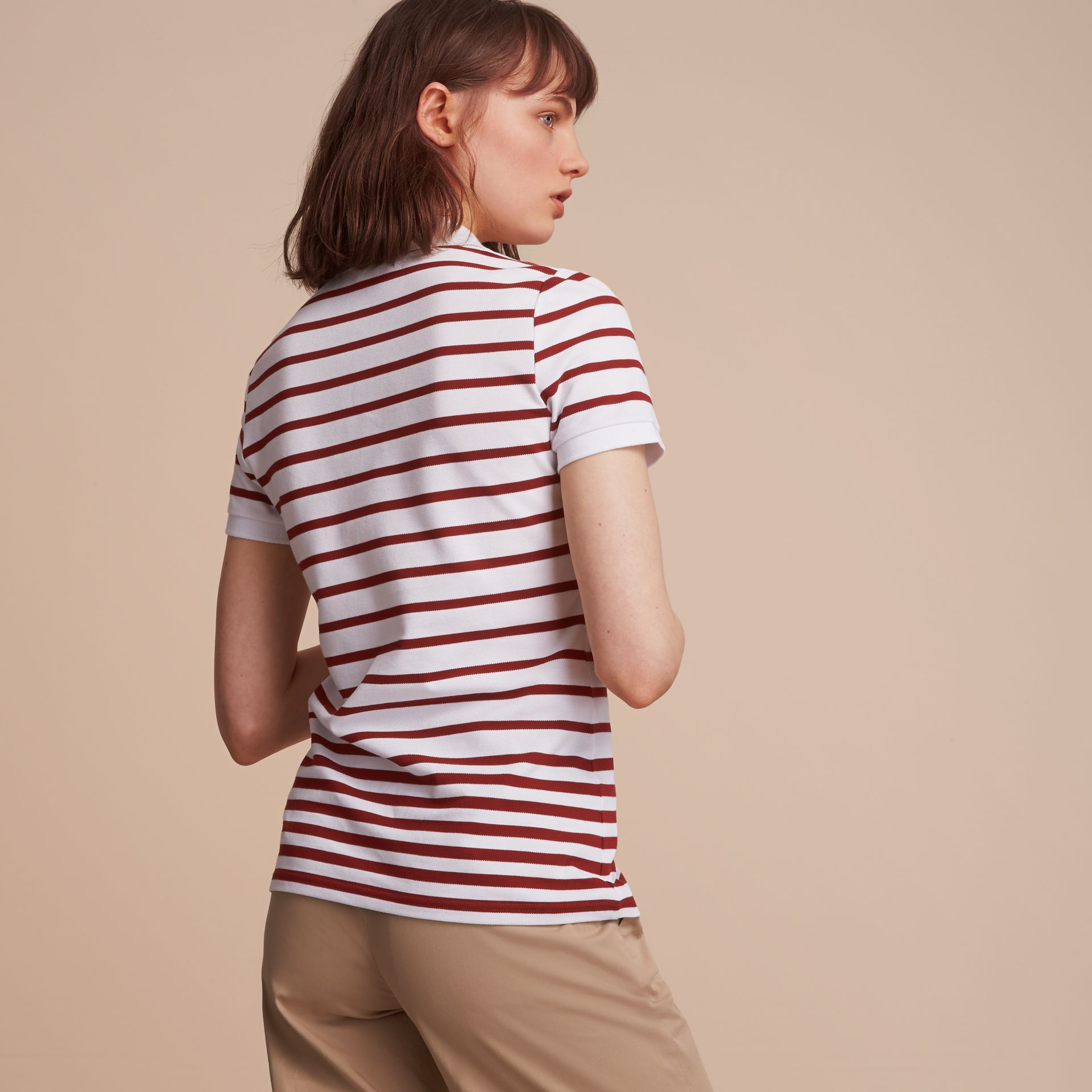 Striped Stretch Cotton Piqué Polo Shirt in White/parade Red - Women | Burberry - gallery image 3