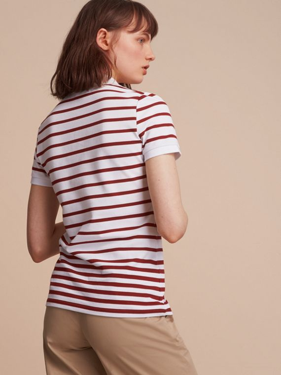 Striped Stretch Cotton Piqué Polo Shirt in White/parade Red - Women | Burberry - cell image 2