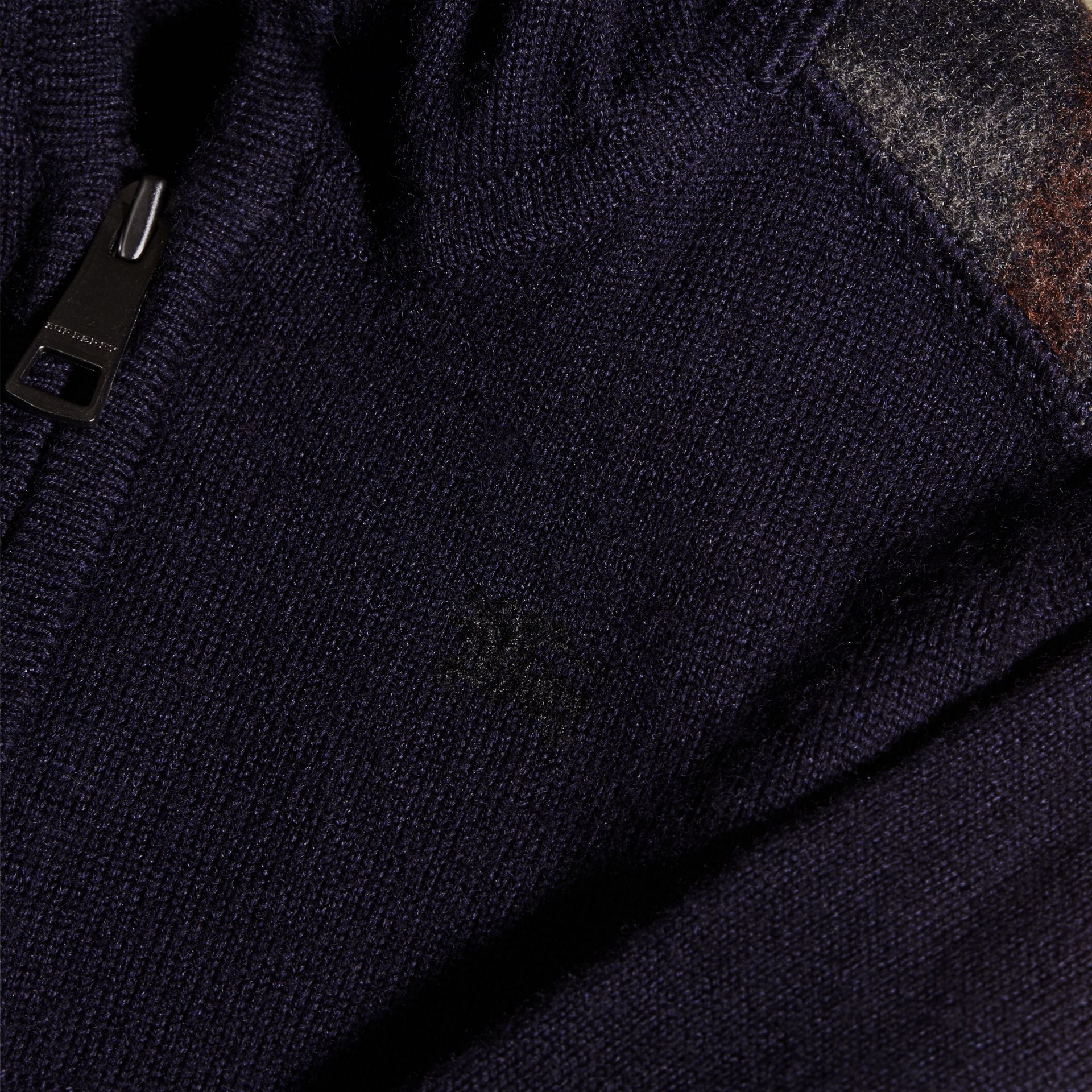 Navy Check Trim Merino Wool Hooded Top - gallery image 2
