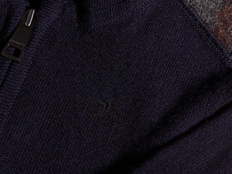 Check Trim Merino Wool Hooded Top - cell image 1
