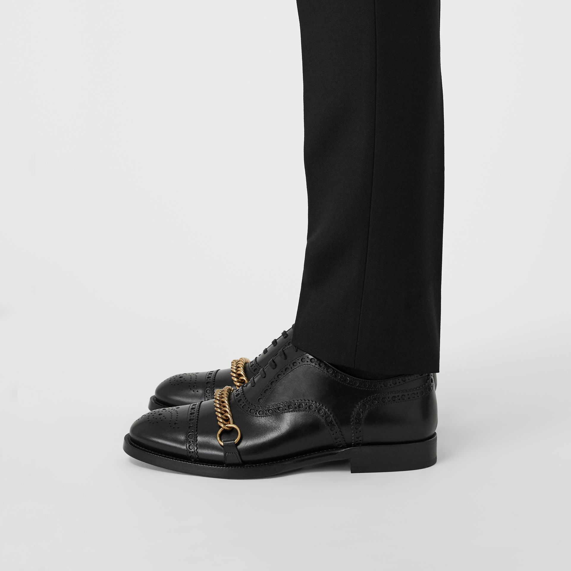 Link Detail Leather Brogues in Black - Men | Burberry Canada - gallery image 2