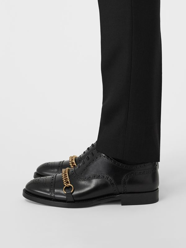 Link Detail Leather Brogues in Black - Men | Burberry Hong Kong - cell image 2