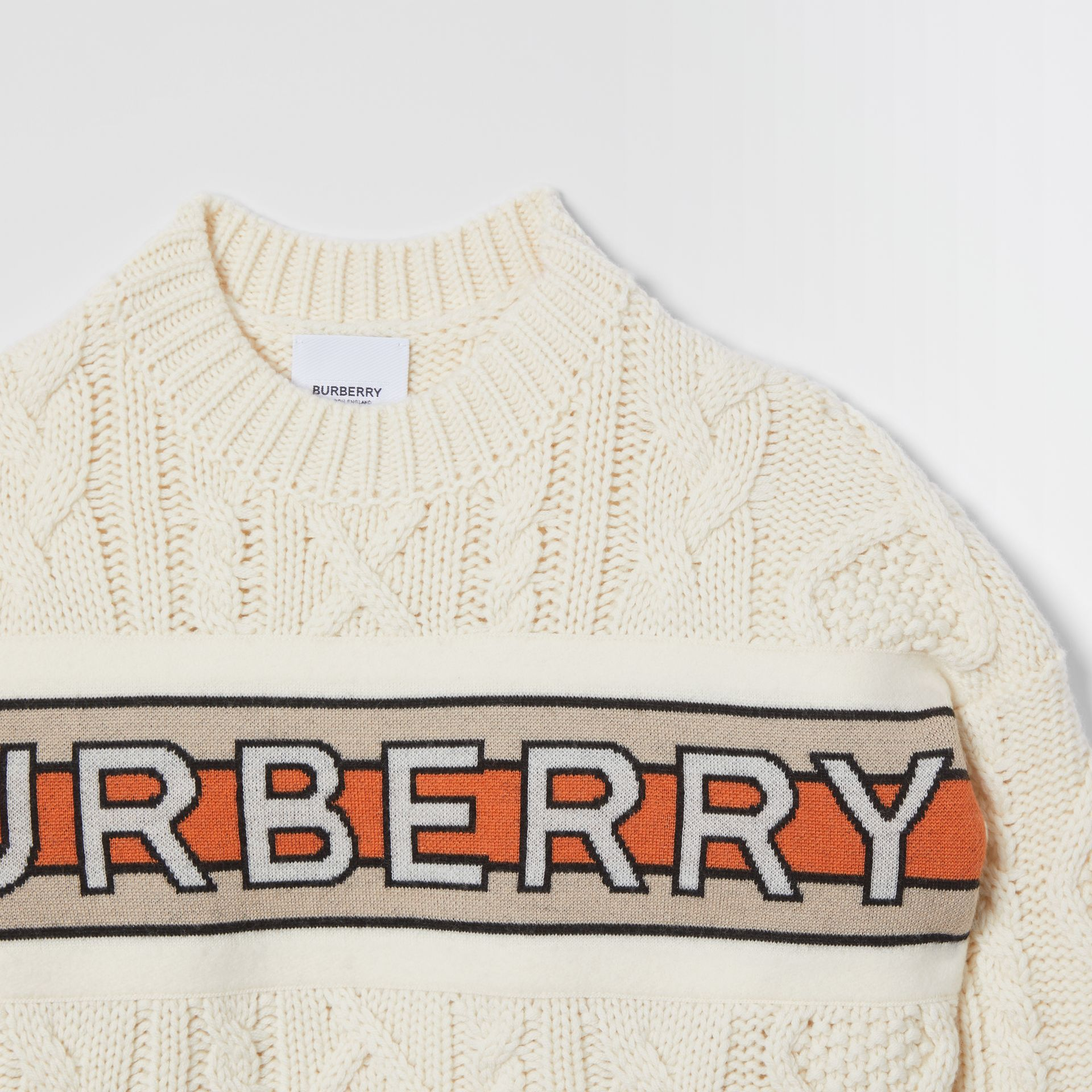 Logo Panel Cable Knit Wool Cashmere Sweater in Ivory | Burberry United States - gallery image 4