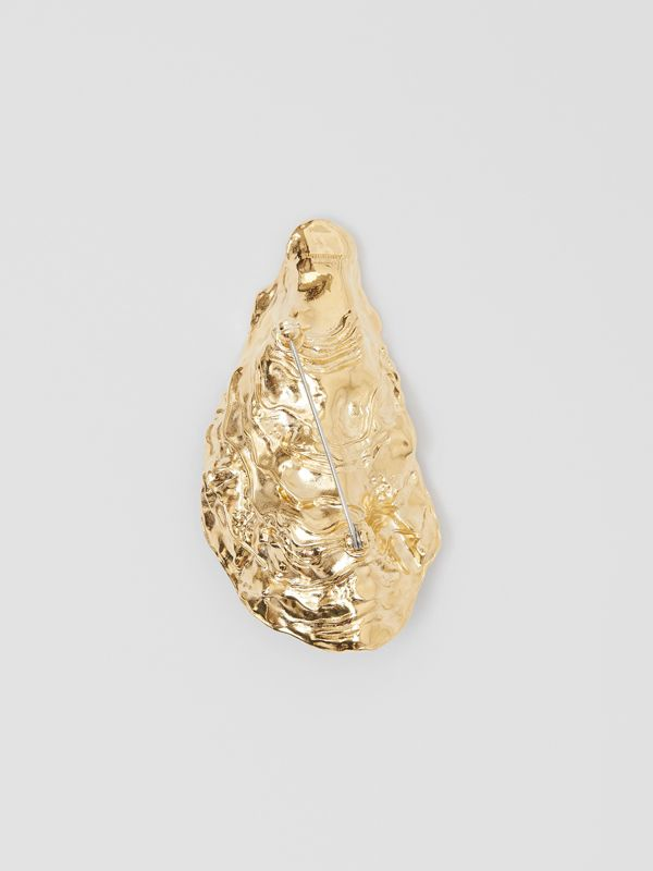 Resin Pearl Detail Gold-plated Oyster Brooch in Light Gold/pearl - Women | Burberry - cell image 3