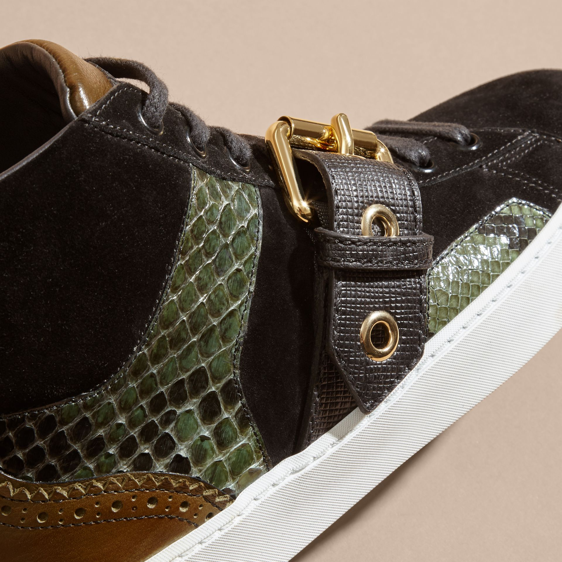 Buckle Detail Leather and Snakeskin High-top Trainers Military Olive - gallery image 2