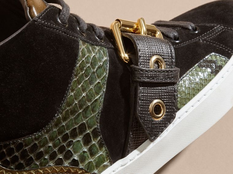Buckle Detail Leather and Snakeskin High-top Trainers Military Olive - cell image 1
