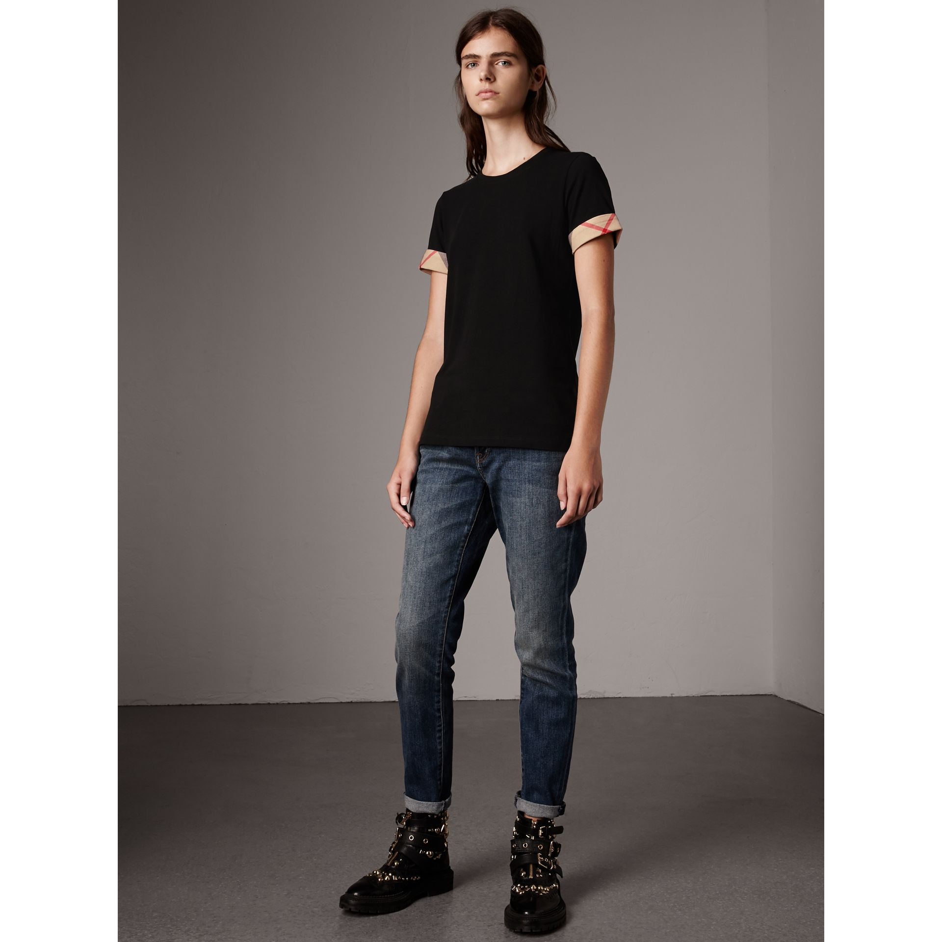 Check Cuff Stretch Cotton T-Shirt in Black - Women | Burberry United Kingdom - gallery image 1