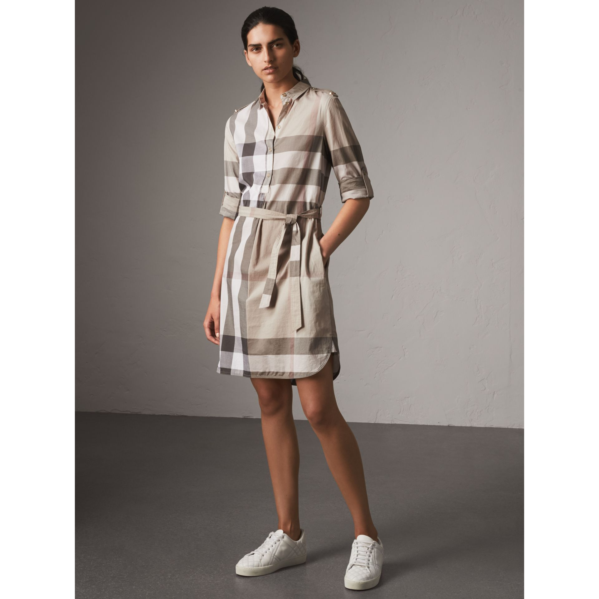 Check Cotton Shirt Dress in Pale Stone - Women | Burberry - gallery image 1