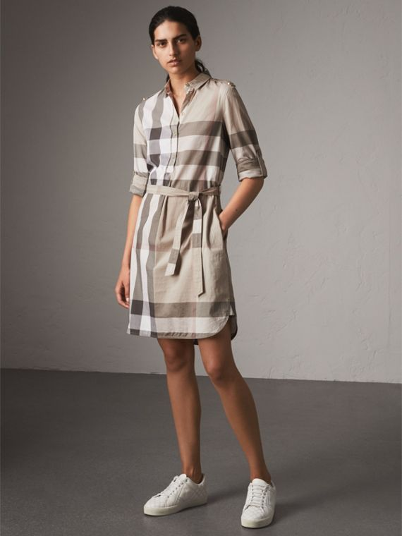 Check Cotton Shirt Dress in Pale Stone