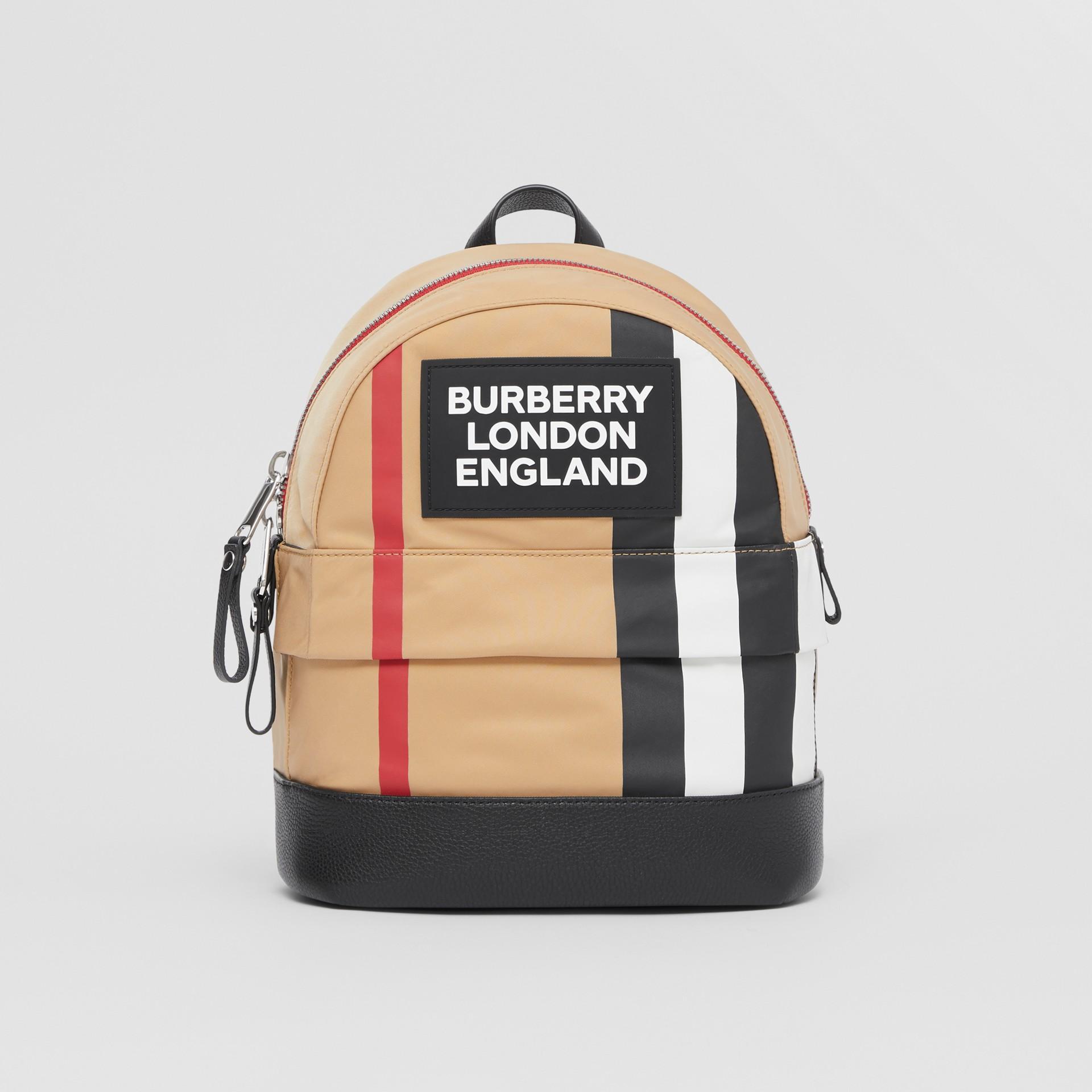 Logo Appliqué Icon Stripe ECONYL® Backpack in Archive Beige - Children | Burberry United Kingdom - gallery image 0