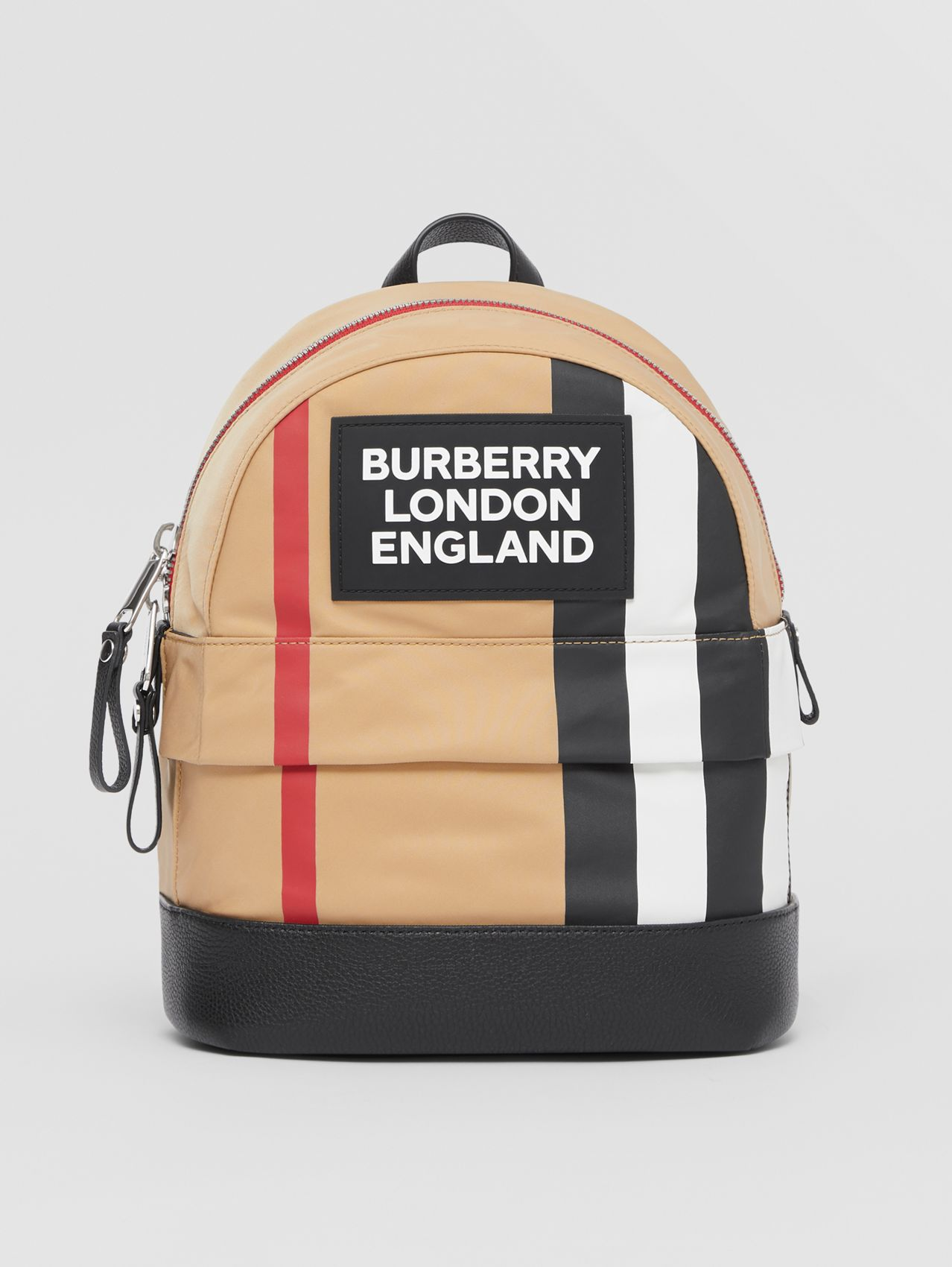 Logo Appliqué Icon Stripe ECONYL® Backpack in Archive Beige