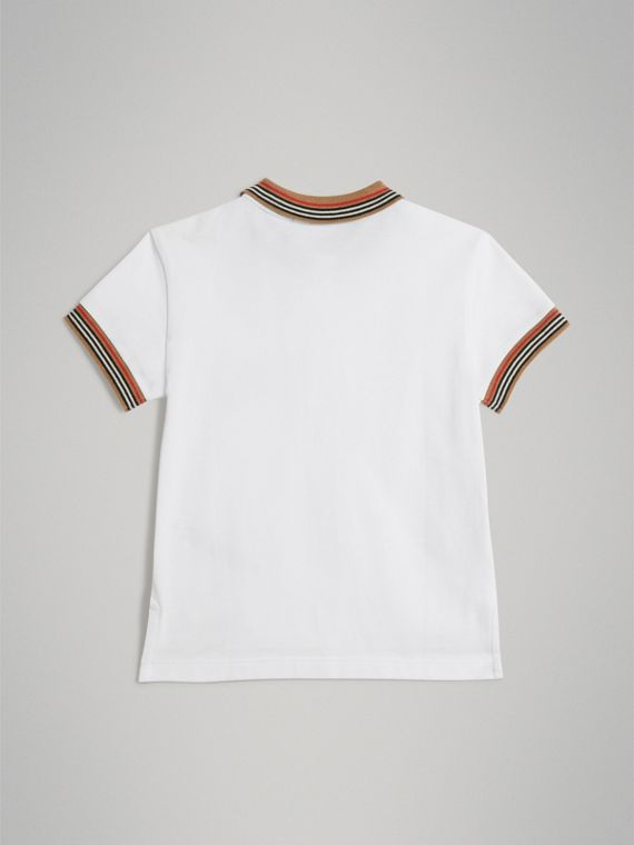 Heritage Stripe Detail Cotton Polo Shirt in White - Boy | Burberry - cell image 3