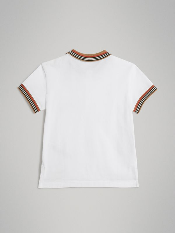 Heritage Stripe Detail Cotton Polo Shirt in White | Burberry Australia - cell image 3