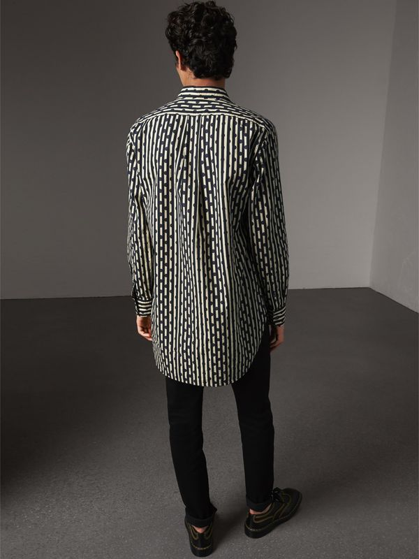 Spot and Stripe Print Cotton Shirt in Navy - Men | Burberry United Kingdom - cell image 2