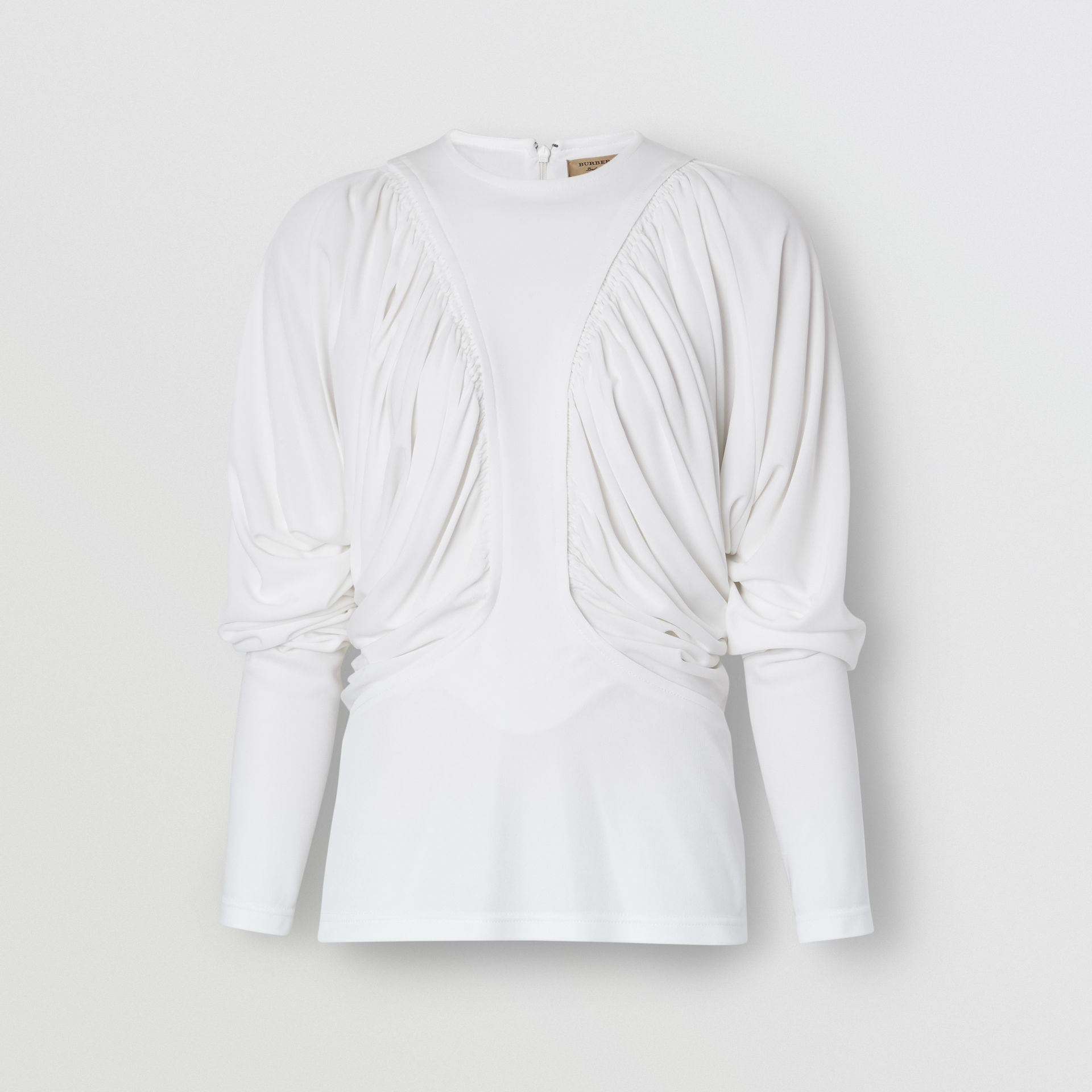 Long-sleeve Ruched Panel Jersey Top in White - Women | Burberry - gallery image 3