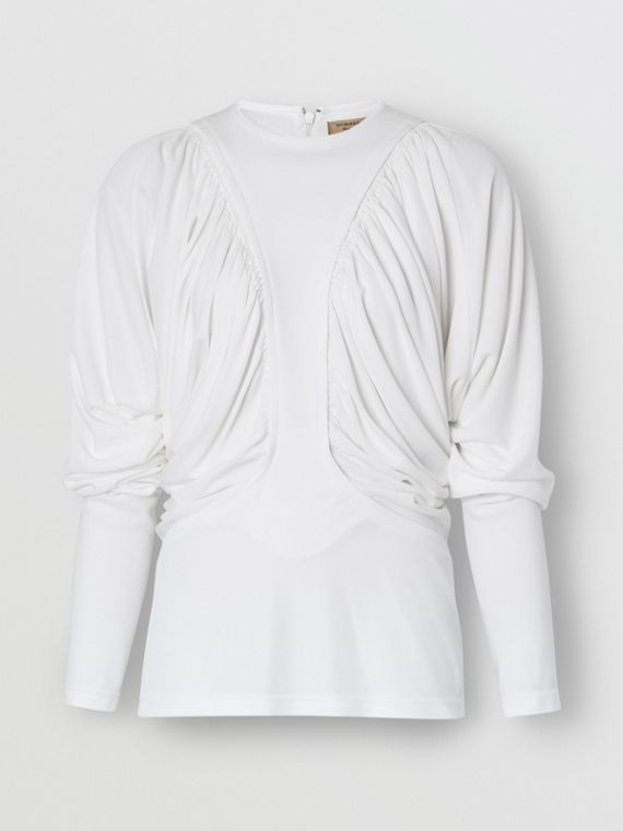 Long-sleeve Ruched Panel Jersey Top in White
