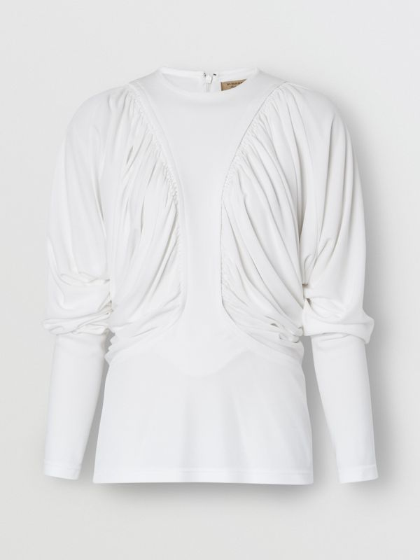 Long-sleeve Ruched Panel Jersey Top in White - Women | Burberry - cell image 3